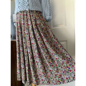 Vintage 90s vibrant floral pleated midi skirt